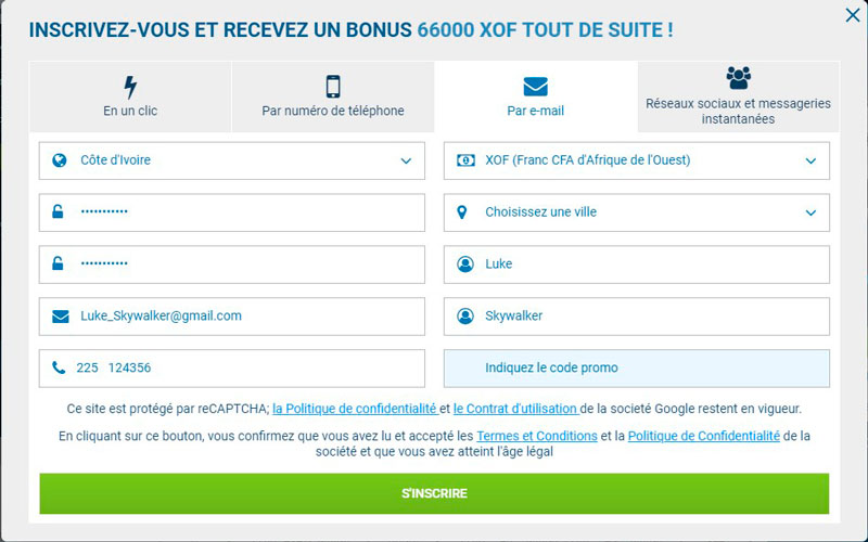 L'inscription sur 1xBet par e-mail